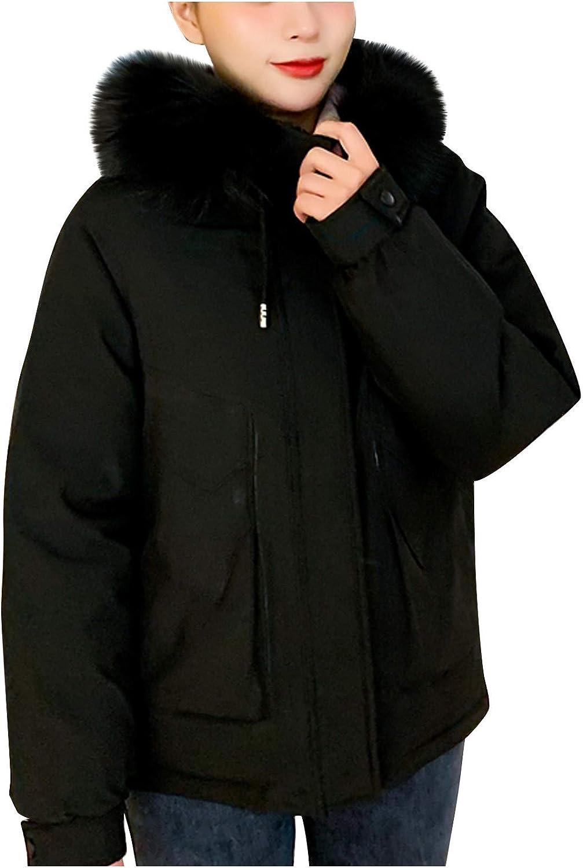 Moxiu Women's Hooded Thicken Jacket Drawstring Down Coat Removable Faux Fur Slim Puffer Winter Coat