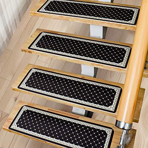 NZHK Floor Decoration Step Mats Stair Carpet Rectangle PU Adjust by 2 Self Adhesive Stair Treads Non-Slip Anti-Slip Washable,Black,55CM
