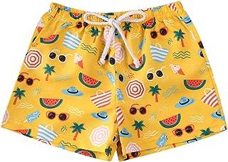 شورت سباحة للأطفال الصغار بنين لشجرة جوز الهند وأوراق مطبوعة ملابس السباحة للأطفال الأولاد الأمواج