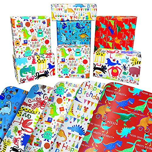 Kinder Geschenkpapier Geburtstag für Junge Mädchen Baby,Dinosaurier Geschenkpapier Set,Kindergeburtstag Geschenkpapiet,Geschenk Papier Kinder,Geschenkverpackung Papier für Weihnachten(Colorful)
