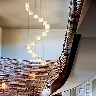 GWFVA Escalera Espiral Larga Araña , 16 Bolas de Vidrio Restaurante Sala de Estar Creativa Escaleras Espiral Lámpara de Cristal (Color: Luz Blanca, Tamaño: 16 Cabezas): Amazon.es: Hogar
