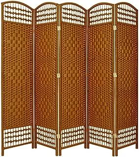 Oriental Furniture 5 1/2 ft. Tall Fiber Weave Room Divider - DarkBeige - 5 Panel