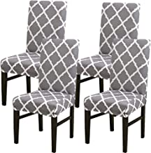 4 x Modern Stretch Dining Chair Covers with Printed Pattern,TERSELY Washable Spandex Fit Slipcovers for High Chairs Protec...