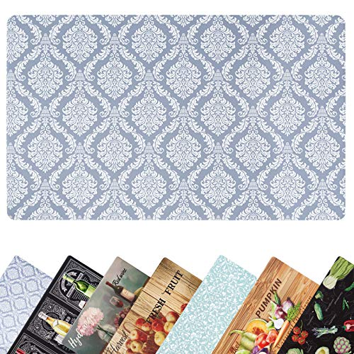 Kitchen Mat Cushioned Farmhouse Anti Fatigue Kitchen Rugs and Mats Non Skid Washable Comfort Runner Waterproof Stain Resistant Standing Rugs 17.5x30 Grey