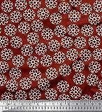Soimoi Rot Baumwolle Batist Stoff geometrisch Mandala Stoff