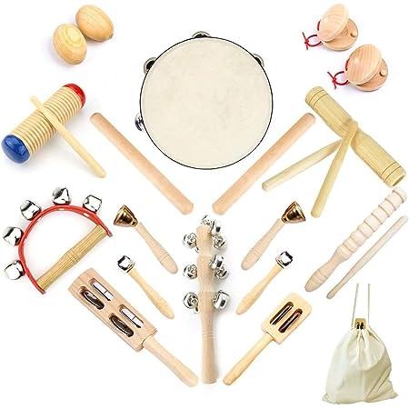 Ulifeme Instrument de Musique Enfant, 23 Pièces Instrument Musique Bois pour Bebe, Ensemble de Jouets 100% Bois Pur, Kit Rythmique de Percussion Premium, Cadeau pour Bébé, Rangement de Sac en Coton