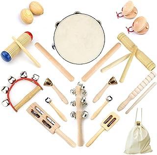 Ulifeme Instrument de Musique Enfant, 23 Pièces Instrument Musique Bois pour Bebe, Ensemble de Jouets 100% Bois Pur, Kit R...