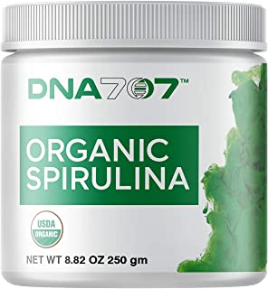 DNA707 Organic Spirulina Powder - 83 Servings (8.82 oz / 250g) Organically Grown and Sustainably Harvested Non-GMO Blue Green Algae, Raw, 100% Vegetarian & Vegan, Non-Irradiated (250 g Spirulina)
