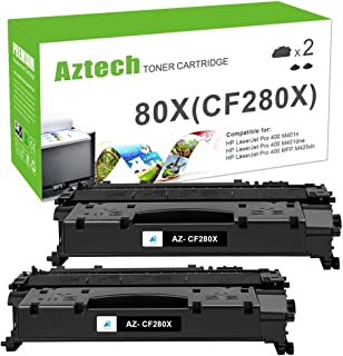 Aztech Compatible Toner Cartridge Replacement for HP 80X CF280X 80A CF280A (Black, 2-Packs)