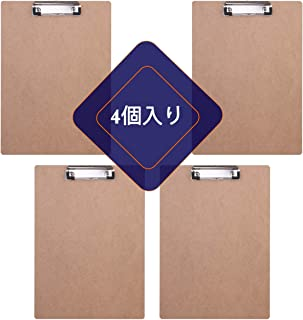 JAKAGO クリップボード A4 タテ型 クリップファイル ワードパッド ファイルバインダー 携帯便利 (4個入り)