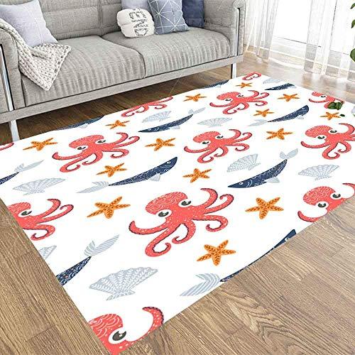 Liz Carter 36X24in Area Rug Door Mat Durable Carpet Absorbs Water Floor Mat Marine Octopus Fish Shell