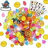 Sinwind Schatzsuche Kindergeburtstag, Goldmünzen des Piratenschatz Spielzeugs & Piraten Schmucksteine für Kinder Party Favor Piratenparty Mitgebsel (154Stück)