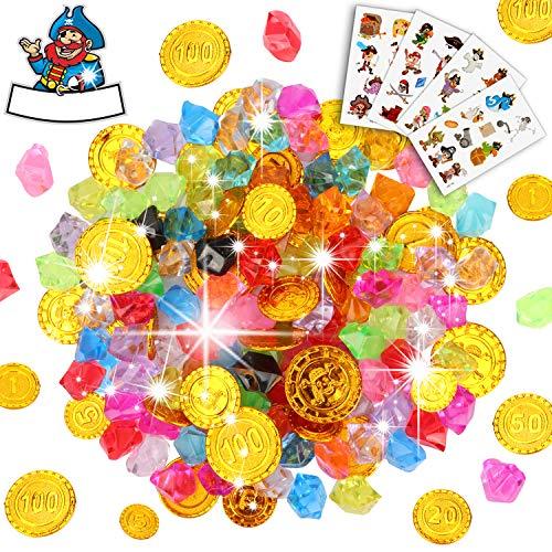 Sinwind Schatzsuche Kindergeburtstag, Goldmünzen des Piratenschatz Spielzeugs und Piraten Schmucksteine für Kinder Party Favor Piratenparty Mitgebsel (154Stück)