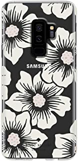 Kate Spade New York Phone Case | For Samsung Galaxy S9 Plus | Protective Clear Crystal Phone Cases with Slim Design and Drop Protection - Hollyhock Floral Clear / Cream with Stones