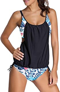 Dokotoo Womens Stripes Lined Up Double Up Tankini Top...