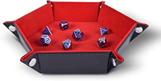 Folding Hexagon Dice Tray PU Leather and Red Velvet for dice Rolling Games Like DND D&D by RNK Gaming