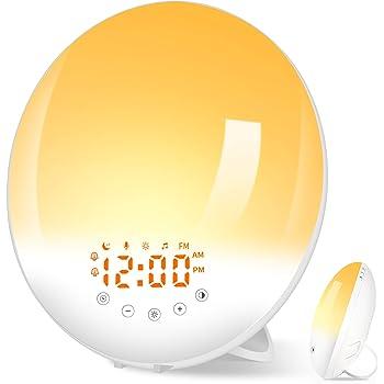 Wake Up Light, Luce Sveglia da Comodino con Registrazione 10 Suoneria FM Radio 2 Sveglia, Luce Notturna 30 Livelli di Luminosità e 7 Colori Simulazione dell'Alba e Tramonto Regalo per Natale