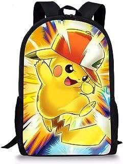 Anime Pokemon Mochila para niños, Estilo Vintage, para niños, con Estampado de Animales, para Viajes al Aire Libre, para niñas y niños, con Estampado de Bulbasaur Pikachu-5 44x28x13cm