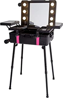 Maylan Makeup Train Stand Case With Pro Studio Artist Trolley And Lights, Black with Pink Stripe - Medium