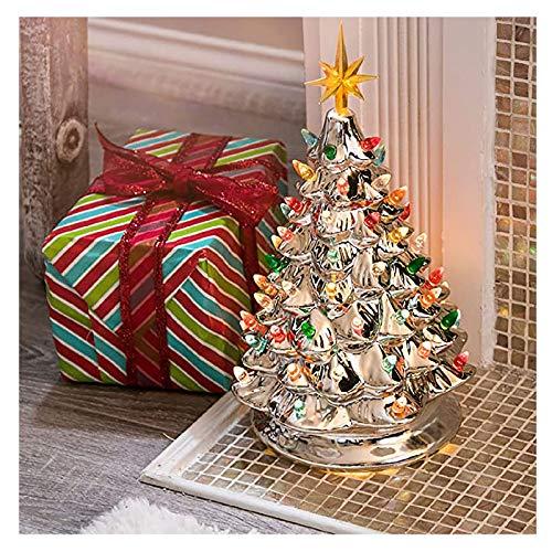 Luminous Ceramic Christmas Tree Bling Shining Christmas Tree with Colored Lamp Bulbs, Hand-Painted Ceramic Christmas Tree Pre-lit Desktop Ornaments (Gold)