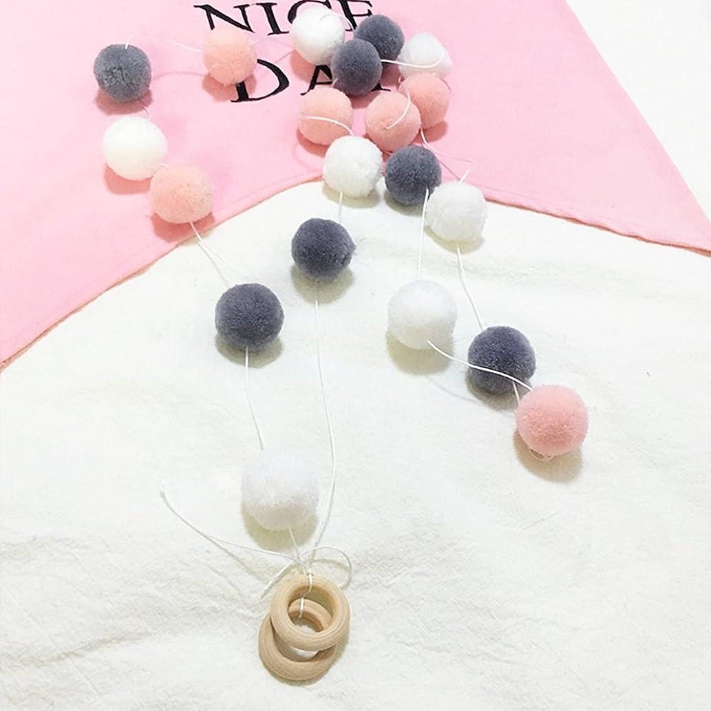 HAN-MM Handmade Felt Ball Garland by Yarn Rainbow Pom Pom Garland 2.5 cm Balls Pink Grey White (Pink Grey White 2)