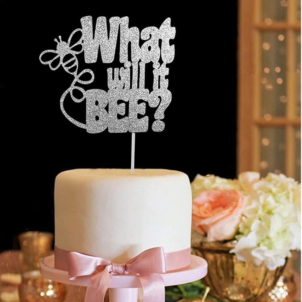 What Will It Bee Gender Reveal Cake Topper, He or She, Baby Shower Party Decorations Silver Glitter