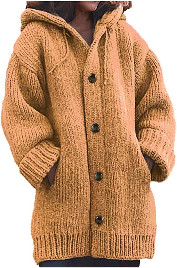 FABIURT Sweaters for Women, Womens Casual Long Sleeve Knit Hoodie Sweater Cardigan Button Up Hooded Outwear with Pocket