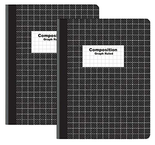 """1InTheOffice Graph Composition Book, 9.75"""" x 7.5"""" Graph Paper Notebook, Black """"2 Pack"""""""