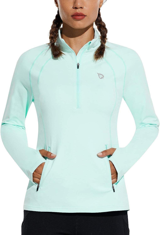 BALEAF Women's Fleece Half Ranking Baltimore Mall TOP18 Zip Sleeve Running Ther Long Pullover