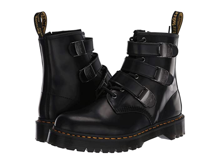 Steampunk Boots and Shoes for Men Dr. Martens 1460 Fenimore Bex Moto Black Shoes $144.99 AT vintagedancer.com