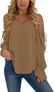 YOINS Cold Shoulder Long Sleeves Tops for Women Sexy V Neck Lace-up Chiffon Casual Loose T Shirts