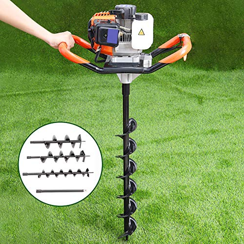 52cc Petrol Earth Auger Drill Post Hole Digger Borer Tools Ground Drill Garden Outdoors Fence with Three Auger Bits ,One Extension Bit