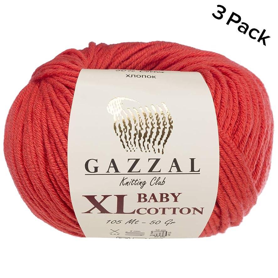 3 Pack (Ball) Gazzal Baby Cotton XL Total 5.28 Oz / 344 Yrds, Each Ball 1.76 Oz (50g) / 246 Yrds (225m) Super Soft, DK- Worsted Baby Yarn, 50% Turkish Cotton, Red - 3418