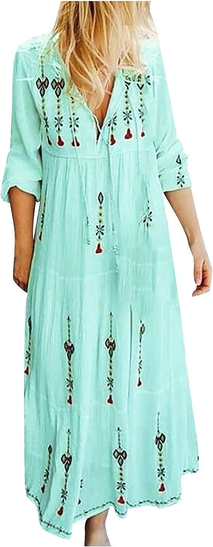 SHOPESSA Women's Floral Print Maxi Dresses Bohemian V Neck Loose Flowy Long Sleeve Dress for Beach Summer 2021