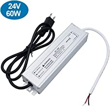 inShareplus LED Power Supply, 24V 60W IP67 Waterproof Outdoor Driver, AC 90-265V to DC 24V 2.5A Low Voltage Transformer, Adapter with 3-Prong Plug for LED Light, Computer Project, Outdoor Use