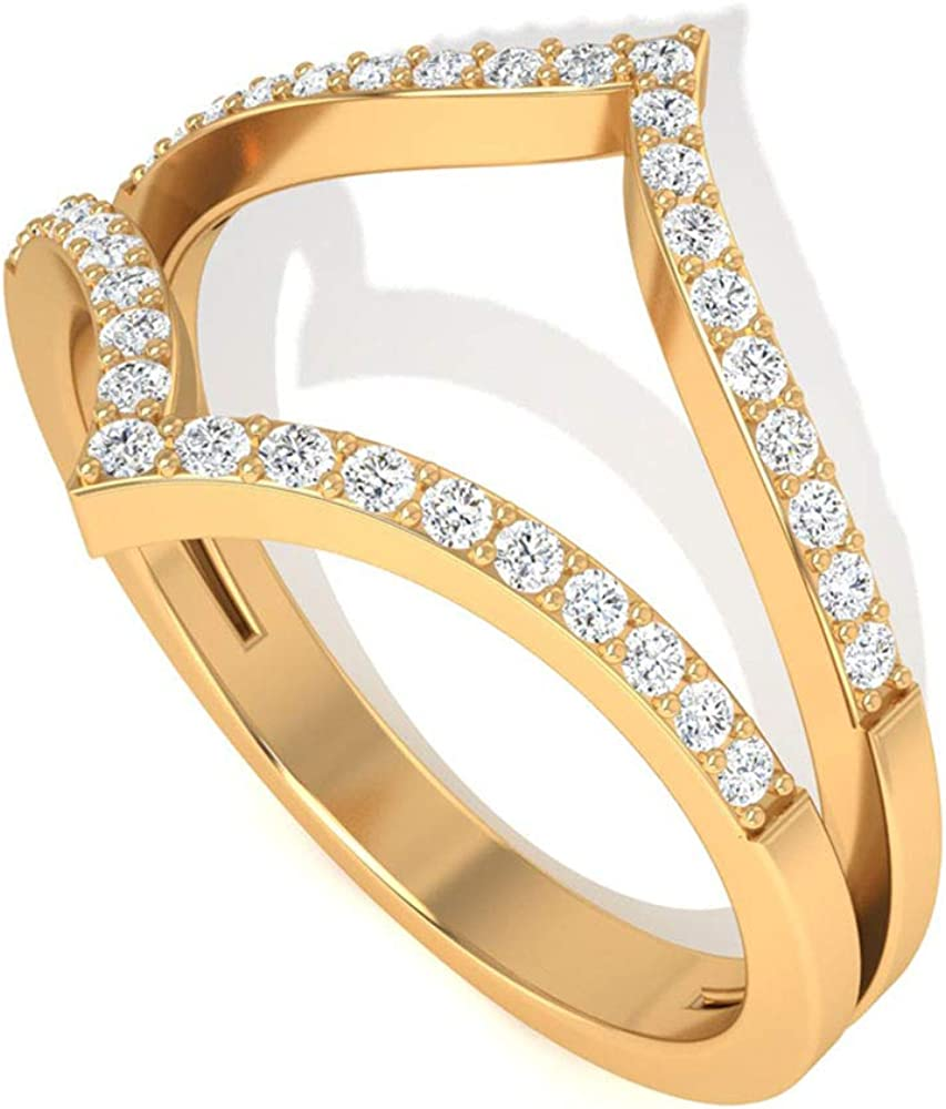 Unique 0.23CT Round Pave Certified Diamond Splint Shank Bridal Ring, Double Chevron Curved Wedding Anniversary Ring, Vintage Gold Engrave Promise Ring, 14K Gold