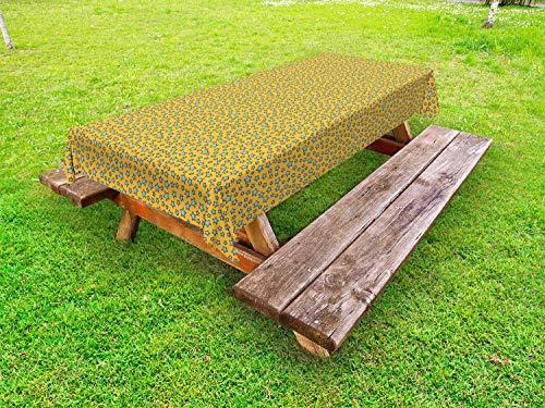 ABAKUHAUS Stars Tafelkleed voor Buitengebruik, Cartoonish Onregelmatige Bestel, Decoratief Wasbaar Tafelkleed voor Picknicktafel, 58 x 84 cm, Earth Yellow Aqua
