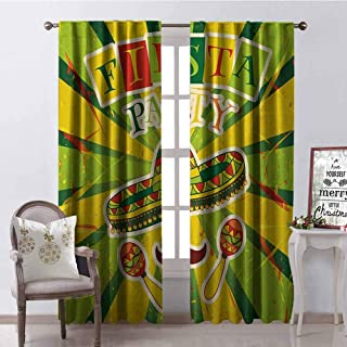 GloriaJohnson Fiesta Heat Insulation Curtain Sprites with Sombrero Maracas Mustache Mexican Hand Drawn Illustration for Living Room or Bedroom W52 x L72 Inch Green Yellow Vermilion