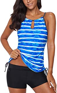 d697f9bef2 Eternatastic Women's Two Piece Strips Printed Tie Side Tankini Tops Bottom  Swimsuit Set