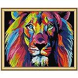 Cgration Colorful Lion DIY Costura hecha a mano contada 14CT Impreso Kit de bordado de punto de cruz Set Decoración del hogar