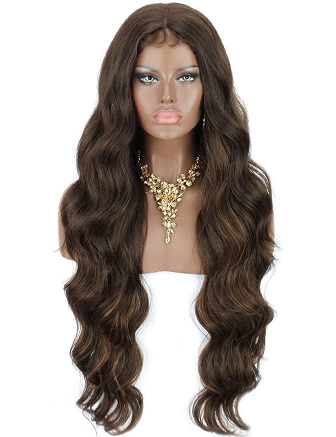 """Kalyss 30"""" Synthetic Lace Hair Wigs with Baby Hair for Black Women Bouncy and Full Classic Finger Wave Style Curls Heat Resistant 150% Density Deep 5"""" Hand Tied Lace Centering Part Lace Hair Wigs"""