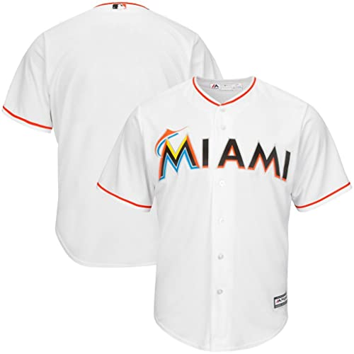 28e6a268d57 VF Miami Marlins MLB Mens Majestic Cool Base Replica Jersey White Big &  Tall Sizes