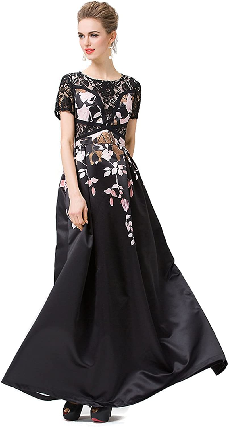 Joy EnvyLand Women Lace A Line Tunic Full Length Maxi Evening Prom Party Dress