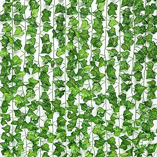 SunTop Plantas Artificial Decoración Hojas, Hiedra Artificial, 2.1 m -12 Pack Garland Plants Hanging Wedding Garland Fake Follaje Flores Inicio Cocina Jardín Oficina Decoración