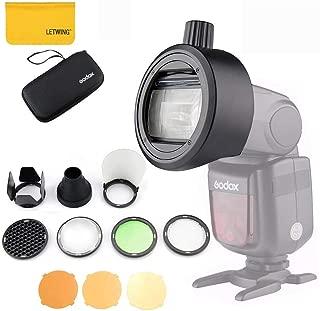 Godox S-R1アダプター付きGodox AK-R1丸型ヘッドアクセサリーは、Godoxカメラを点滅させることができます。例えば、V 860 II、V 850 II、TT 685およびTT 600シリーズは、創造的な光の効果を実現します【同じサイズの他のブランドのフラッシュヘッドもS-R1に適しています】   ストロボアクセサリ 通販