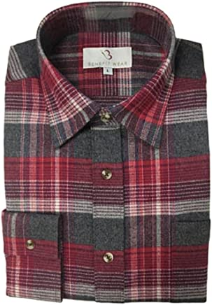 a49b4e5e06f Benefit Wear Men s Front Hook-and-Loop Closure Flannel Shirt Red Plaid (M
