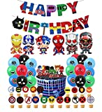 Decoraciones Fiestas Superhéroes Globos Vengadores Banner de Feliz Cumpleaños de Avengers Globos de Papel Aluminio de Cumpleaños de superhero Decoración para Tarta de superhero
