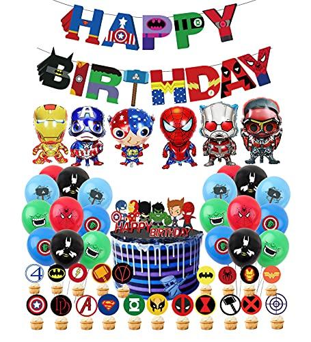 Supereroe Theme Party Decorazioni Supereroi Palloncini Avengers Compleanno Banner Superhero Compleanno Alluminio Palloncino Supereroe Torta Compleanno