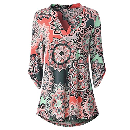 iTLOTL Womens Long Sleeve Floral Printed Roll-Up Top Casual Button Layered Blouses(US:6/CN:M, Watermelon)