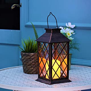 Solar Lanterns Outdoor Hanging Solar Lights Outdoor Decorative, with Flickering Candle Warm LED Light for Tabletop Garden Patio Yard Decoration.